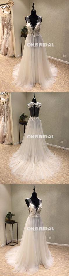 Cheap Tulle V-Neck Wedding Dresses, A-Line Open-Back Applique Wedding – OkBridal