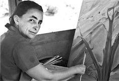Georgia O'Keeffe at work by Anselm Adams, 1937