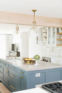 """Modern Farmhouse Interior Design Ideas island color is """"Slate Tile by Sherwin Williams"""" Painted Kitchen Island, Blue Kitchen Island, Farmhouse Kitchen Island, Island Blue, Kitchen Islands, Kitchen Island Lighting, Kitchen Counters, Home Design, Interior Design Kitchen"""