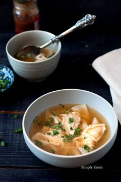 Delicious Chicken Wonton Soup.  R: Sub onions with chives, add mushrooms and wonton noodles, use 1/2 tsp per,  R: *****