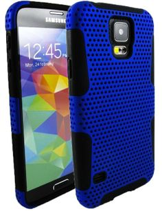 myLife (TM) Ultra Blue and Dark Jet Black - Perforated Mesh Series (2 Layer Neo Hybrid) Slim Armor Case for the NEW Galaxy S5 (5G) Smartphon...