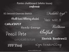 Selecionamos 16 fontes gratuitas que imitam giz + um fundo de lousa para você baixar e criar o seu próprio Chalkboard! #lousa #chalkboard #crafccino