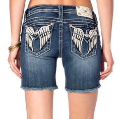 ⚜NWT Women's MISS ME Mid Rise Frayed Hem Cut Off Denim Stretch Jean Shorts 27⚜…
