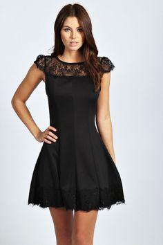 Mia Lace Panels Cap Sleeve Skater Dress