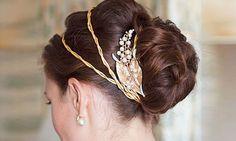 Greek goddess crown for wedding updo Grecian Hairstyles, Best Wedding Hairstyles, Vintage Hairstyles, Pretty Hairstyles, Hairstyle Ideas, Bridal Hairstyles, Hairstyle Photos, Style Hairstyle, Updo Hairstyle