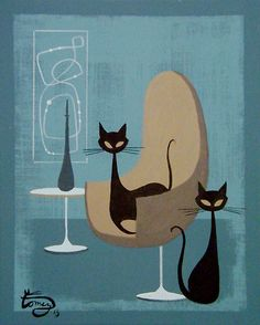 El Gato Gomez Painting Eames Mid Century Modern Retro Interior Design Cat Home | eBay