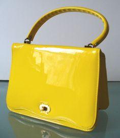 Vintage Lemon Yellow Patent Leather Kelly Bag by TheOldBagOnline, $36.99
