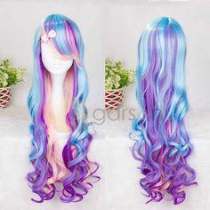 Fashion Long Women's Girls Curly Wavy Full Wig Lolita Hair Cosplay Gradient Wigs #Unbranded #FullWig