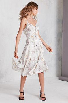 Kimchi Blue Graziano Floral Button-Down Midi Slip Dress