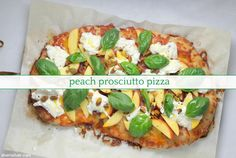 It's the most summery pizza you'll ever have. Prosciutto Pizza, Winter Dishes, Sweet Peach, Pizza Dough, Mozzarella, Sunny Days, Vegetable Pizza, Clean Eating, Yummy Food