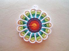 C) Crocheted Flower Potholder