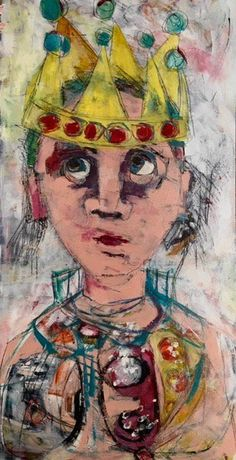 """BELINDA BELL, """"Straight from the Dress Up Box,"""" Mixed Media, 48"""" x 24"""""""