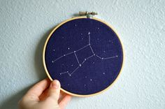Virgo Zodiac Constellation Embroidery Hoop Art - Astrology Wall Hanging - Hand Stitched Embroidery - 5 inch