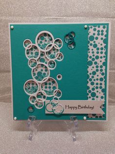 BUBBLE SHAKER CARD made with Sizzix Bright Bubbles die using Tonic Studios patterned papers and Essential Card. Tonic Nuvo glitter and Nuvo drops added.