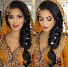 To find them. Hair & Makeup and Dupatta Setting by me Indian Wedding Makeup, Wedding Hair And Makeup, Hair Makeup, Desi Bridal Makeup, Eye Makeup, Wedding Mehndi, Bridal Mehndi, Wedding Ceremony, Mehndi Hairstyles