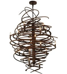 Cyclone Chandelier shown in Antique Rust by 2nd Avenue Lighting