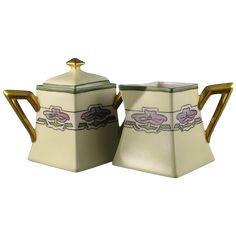"Delinieres & Co. (D&Co.) LIMOGES Art Deco Purple Flower Creamer & Sugar Set (Signed ""June Saxmann""/c.1894-1900) (hva)"