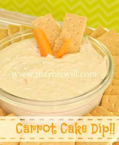 The best Carrot Cake Dip! Just Desserts, Delicious Desserts, Yummy Food, Awesome Desserts, Summer Desserts, Dessert Dips, Dessert Recipes, Yummy Recipes, Dip Recipes