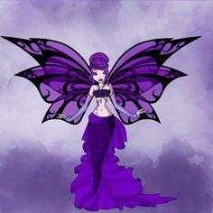 Violet mermaid with wings.