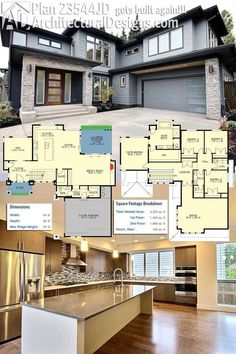 Architectural Designs House Plan 23544JD gets built. Again!!! The airy foyer has an open rail stair and the main floor has an open floor plan. The home gives you 4 beds and over 3,300 square feet, including the bonus room over the 2-car garage. Ready when you are. Where do YOU want to build?