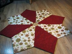 "Snowflake Christmas Tree Skirt in Cream, Red & Green ""Holiday Flourish"" Pattern"