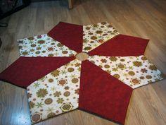 "Snowflake Christmas Tree Skirt in Cream, Red & Green ""Holiday Flourish"" Pattern"