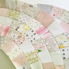 """""""My main is my Molehill Quilt - oranges, pinks and low volume are the name of the game for this one - it will end up being a queen/king hybrid size…"""" I Spy Quilt, Rag Quilt, Scrappy Quilts, Baby Quilts, Quilt Blocks, Circle Quilts, Mini Quilts, Quilting Tips, Quilting Tutorials"""