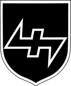 """34. SS-Freiwilligen-Grenadier-Division """"Landstorm Nederland"""" (niederländische Nr. 2)Das hier verwendete Symbol wird auch """"Wolfsangel""""genannt."""