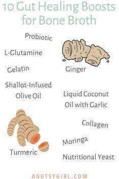 10 Gut Healing Boosts for Bone Broth - A Gutsy Girl Digestive Bitters, Leaky Gut Diet, Liquid Coconut Oil, Beef Bone Broth, Beef Bones, Mason Jar Diy, Ibs, Natural Healing, Turmeric