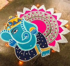Check out latest ganesh rangoli designs and patterns which you can use to decorate your home this ganesh chaturthi. Best Rangoli Design, Rangoli Designs Latest, Rangoli Designs Flower, Rangoli Patterns, Rangoli Ideas, Rangoli Designs Diwali, Rangoli Designs Images, Rangoli Designs With Dots, Diwali Rangoli