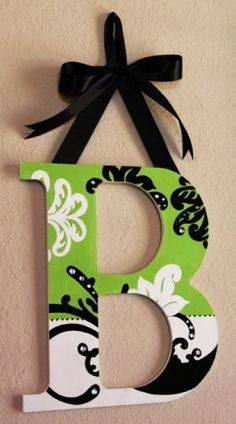 Wooden hanging wall letter with rhinestone and bow - wall decor, diy letter crafts