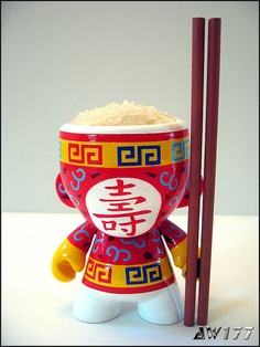 well that's one way to do munny...Chinese Rice Bowl Mini Munny by AWI77