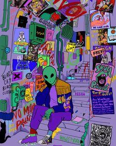 glow in the dark mushrooms trippy painting Hippie Kunst, Hippie Art, Hippie Drawing, Alien Aesthetic, Aesthetic Art, Aesthetic Outfit, Aesthetic Painting, Purple Aesthetic, Aesthetic Fashion