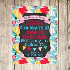 Hot Air Balloon Birthday Invitations, printable, digital, DIY  PLEASE READ THE INFO BELOW!! I TRY TO ANSWER ANY ?? YOU MAY HAVE RIGHT HERE