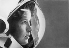 Pencil Portrait of Anna Lee Fisher by LateStarter63