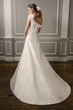 Vestido de noiva Cintura Natural Manga Curta Cauda Médio A-Line
