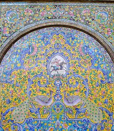 Tile-works at the Golestan Palace/19th century/ Tehran / Qajar period. The motif of two peacocks, one on each side of the Tree of Life, is a well-known feature of Persian decorative arts and also peacocks are the symbol of beauty