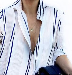 Le Fashion Blog 25 Ways To Wear A Striped Button Down Shirt Blue Stripes Superman Necklace Via Marianna G Opened Photo by lefashion | Photobucket
