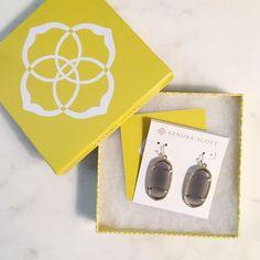 """Kendra Scott """"Elle"""" earrings in slate Gold and light grey (slate) Kendra Scott earrings. Box included. Kendra Scott Jewelry Earrings"""