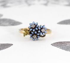 Antique Enamel & Diamond Flower Ring, Victorian 14k Gold Mine Cut Diamond Forget Me Not Bouquet, Bohemian Bridal Jewelry Anniversary Gift by TheEdenCollective on Etsy https://www.etsy.com/au/listing/261850068/antique-enamel-diamond-flower-ring