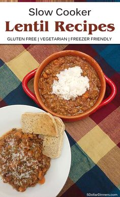 2 Budget Friendly Slow Cooker Lentil Recipes that are gluten free, vegetarian and freezer friendly! | 5DollarDinners.com