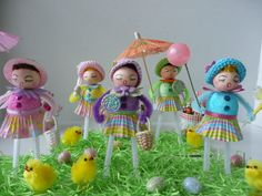 vintage style, handmade, spun cotton, pipecleaner dolls