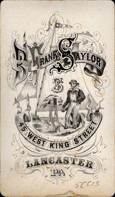 1870-1880's B Frank Saylor 45 West King Street Lancaster, PA