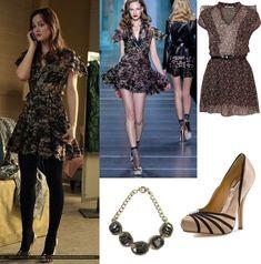 On Blair: Christian Dior Spring 2010 Chiffon Ruffle Print Dress, Rich Rocks Brushed Gold Necklace, Badgley Mischka Ophelia Pump