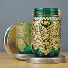 Painted Mason Jar Lantern, With Emerald Green Glass and Gold Accents, Moroccan Inspired
