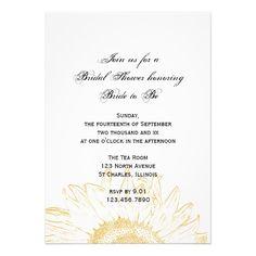 Graphic Sunflower Bridal Shower Invitation