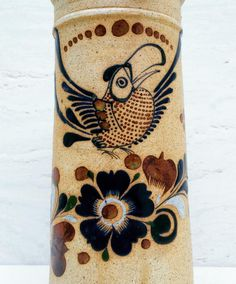vintage Italian style painted ceramic bird Vintage big eyed bird signed  ceramic 7 x 6 mexican tonal whimsical pigeon 7 x 6