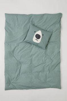 Dekbedovertrekset met dessin - Nevelgroen/beer | beschikbaar online en in de winkel | maat 200x150 50x60