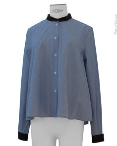 #BandOfOutsiders - Navy Shirt with Leather Collar