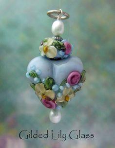 Glacier Blue Heart Pendant Lampwork by gildedlilyglasscandy, $35.00